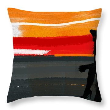 Sunset In Hamptons Throw Pillow
