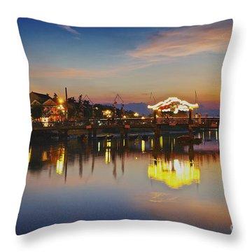 Sunset In Hoi An Vietnam Southeast Asia Throw Pillow