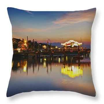 Sunset In Hoi An Vietnam Southeast Asia Throw Pillow