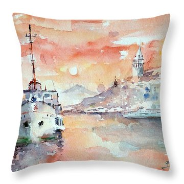 Sunset In Istanbul... Throw Pillow