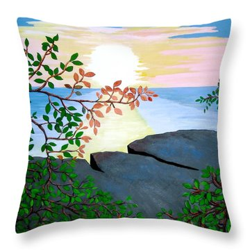 Throw Pillow featuring the painting Sunset In Jamaica by Stephanie Moore