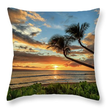 Sunset In Kaanapali Throw Pillow by James Eddy