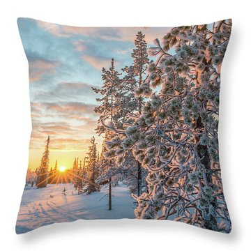 Throw Pillow featuring the photograph Sunset In Lapland by Delphimages Photo Creations