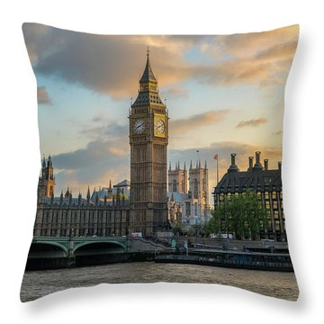 Sunset In London Westminster Throw Pillow