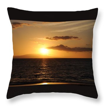 Sunset In Maui Throw Pillow by Michael Albright