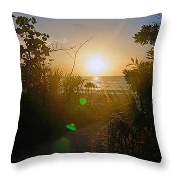 Sunset In Naples At Barefoot Beach Throw Pillow