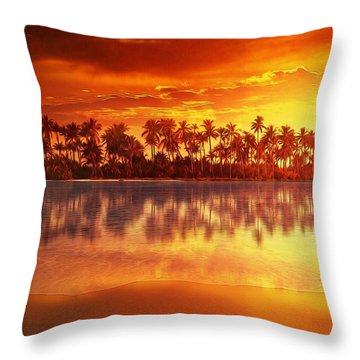 Throw Pillow featuring the mixed media Sunset In Paradise by Gabriella Weninger - David