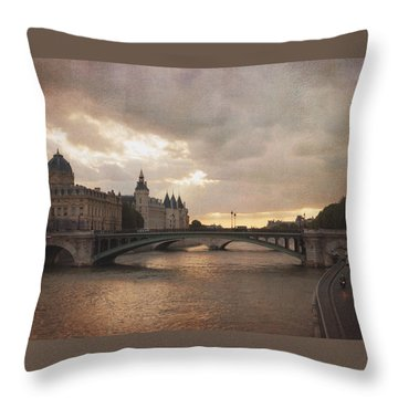 Sunset In Paris Throw Pillow by Heidi Hermes