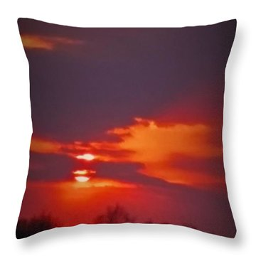 Sunset In Red Throw Pillow by Deborah DeLaBarre