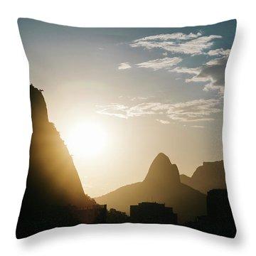 Sunset In Rio De Janeiro, Brazil Throw Pillow