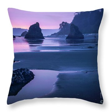 Sunset In Ruby Beach Throw Pillow