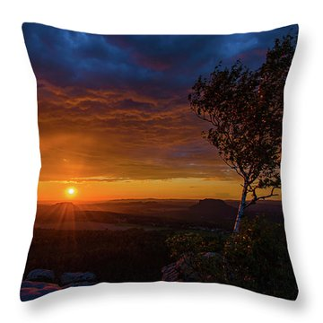 Sunset In Saxonian Switzerland Throw Pillow