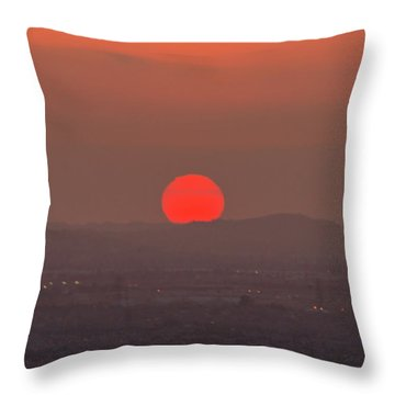 Sunset In Smog Throw Pillow