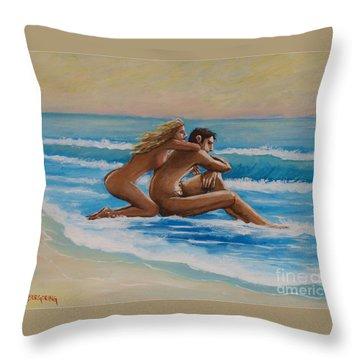Sunset In The Beach Throw Pillow