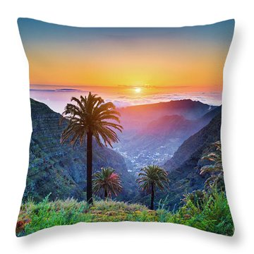 Sunset In The Canary Islands Throw Pillow by JR Photography