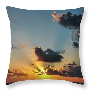 Sunset In The Caribbean Sea Throw Pillow