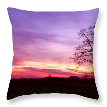 Sunset In The Country Throw Pillow by Amanda Kiplinger