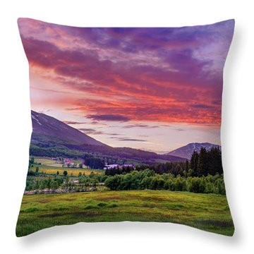 Sunset In The Meadow Throw Pillow