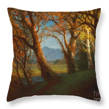 Sunset In The Nebraska Territory Throw Pillow by Albert Bierstadt