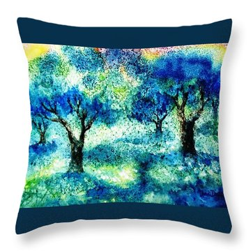 Throw Pillow featuring the painting Sunset In The Olive Grove  by Trudi Doyle