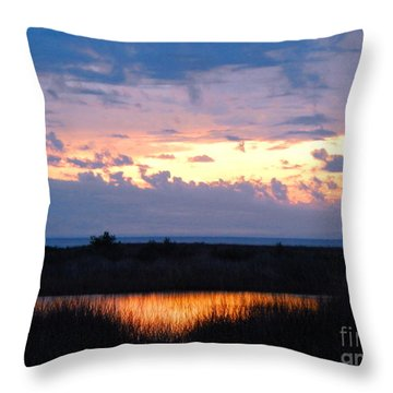 Sunset In The River Sea Beyond Throw Pillow