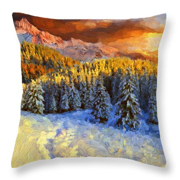 Sunset In The Rockys Throw Pillow