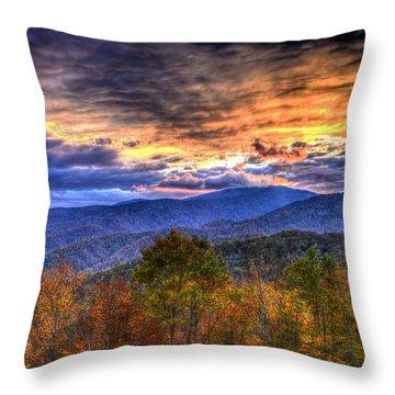Sunset In The Smokies Throw Pillow