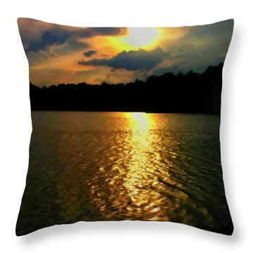 Throw Pillow featuring the digital art Sunset In The Smoky Mountains 1 by Chris Flees