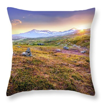 Throw Pillow featuring the photograph Sunset In Tundra by Dmytro Korol