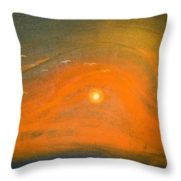 Throw Pillow featuring the painting Sunset In Valleys by Piety Dsilva