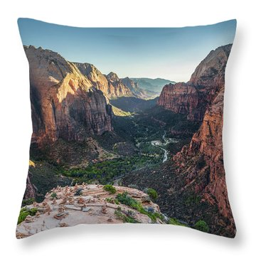 Sunset In Zion National Park Throw Pillow by JR Photography