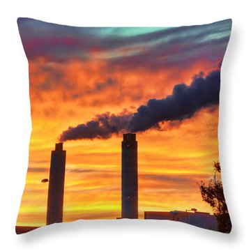 Sunset Industry Throw Pillow
