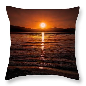 Sunset Lake 810pm Textured Throw Pillow