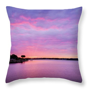 Sunset Lake Arlington Texas Throw Pillow