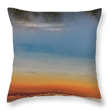 Sunset Lake In Black Sand Basin Yellowstone National Park Throw Pillow by Louise Heusinkveld