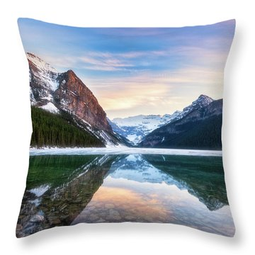 Sunset Lake Louise Throw Pillow