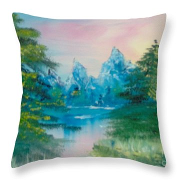 Throw Pillow featuring the painting Sunset Lake by Saundra Johnson