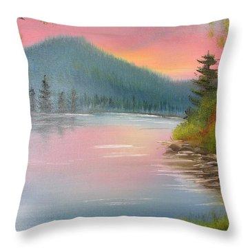 Sunset Lake Throw Pillow by Thomas Janos