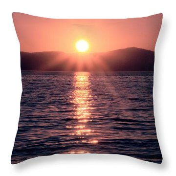 Sunset Lake Verticle Throw Pillow