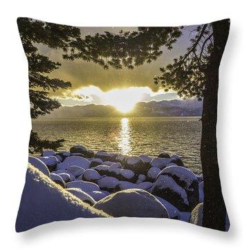 Sunset Light Lake Tahoe Throw Pillow