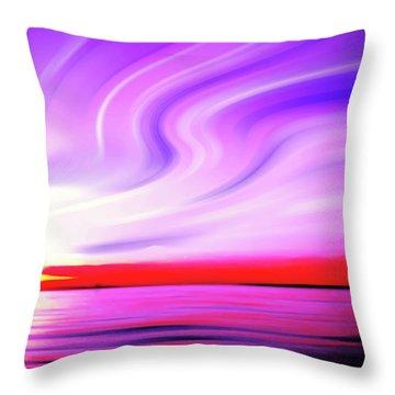 Sunset Light Painting At Edmonds Washington Waterfront Throw Pillow