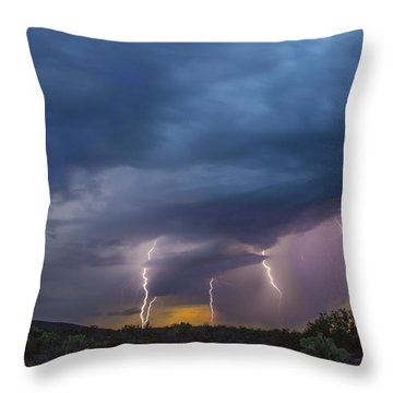 Sunset Lightning Throw Pillow