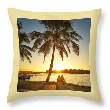 Throw Pillow featuring the photograph Sunset Lovers Under Palm Tree And Down By The River by Keiran Lusk