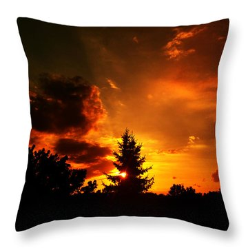 Sunset Madness Throw Pillow by Flavien Gillet