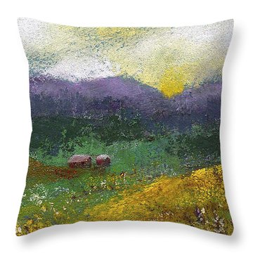 Sunset Meadow Throw Pillow by David Patterson
