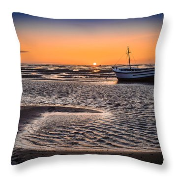 Sunset, Meols Beach Throw Pillow