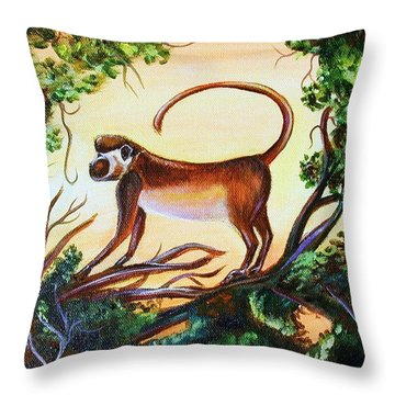 Sunset Monkey Throw Pillow by Patricia Piffath