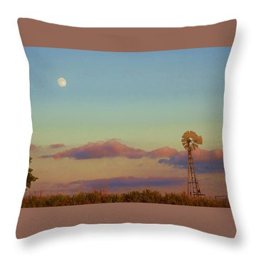 Sunset Moonrise With Windmill  Throw Pillow