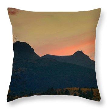 Sunset Mountain Silhouette Throw Pillow