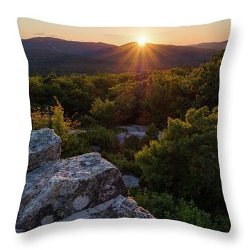 Throw Pillow featuring the photograph Sunset, Mt. Battie, Camden, Maine 33788-33791 by John Bald